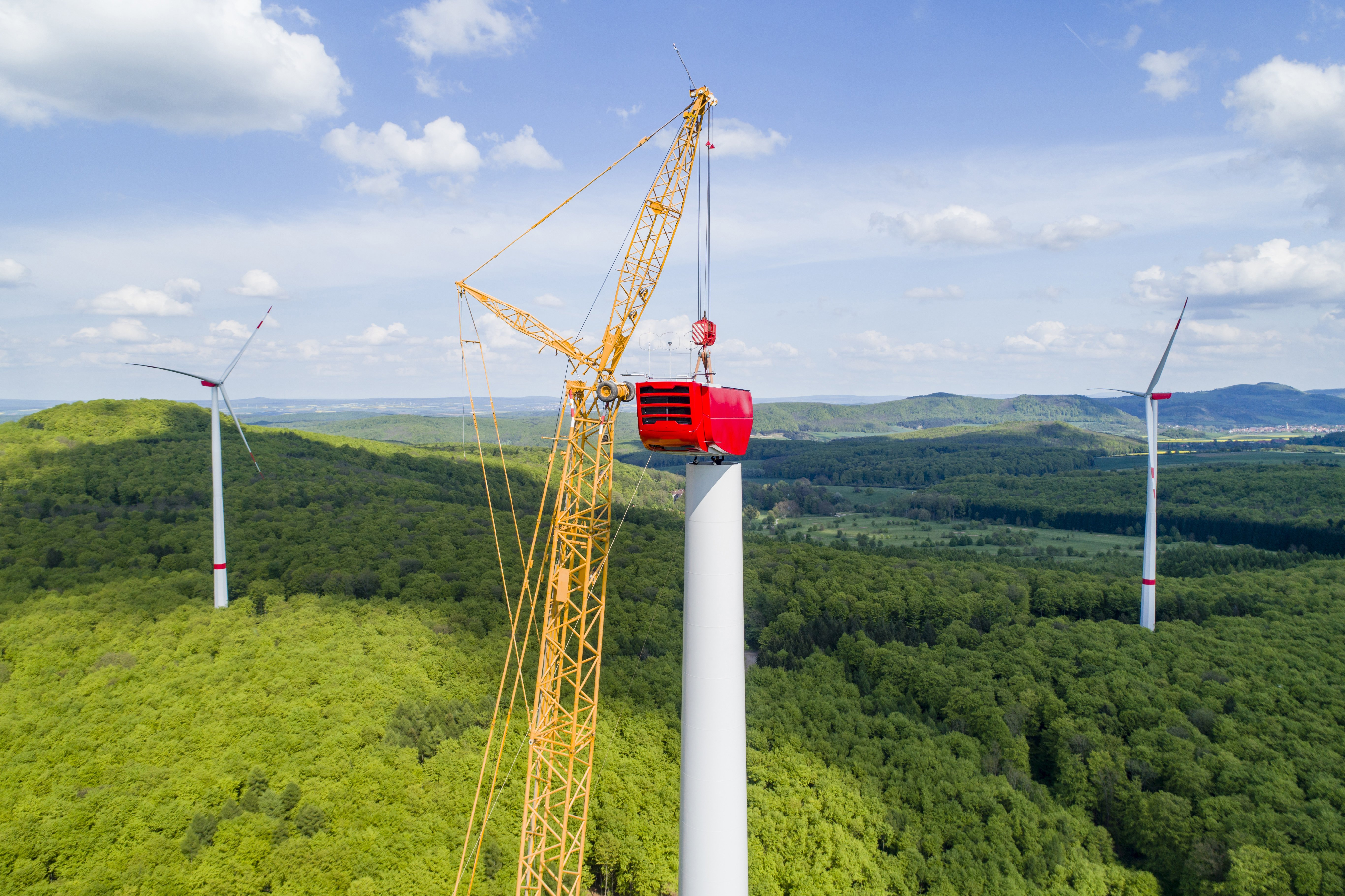 Aerial view of wind turbine under construction_659582905_shutterstock